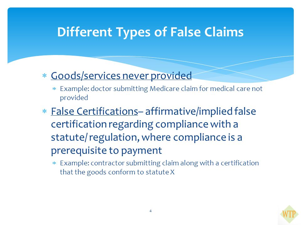 Different Types of False Claims
