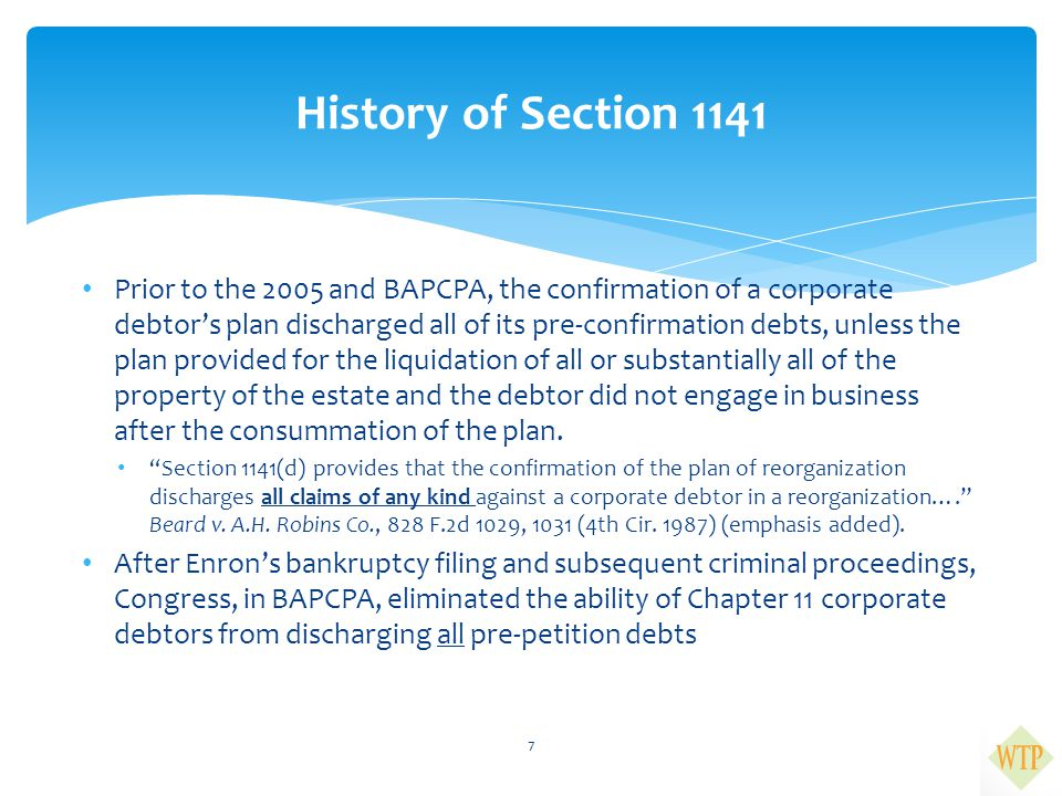 History of Section 1141