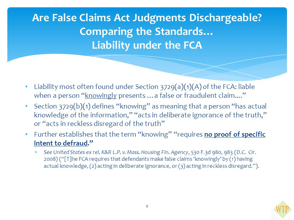 Are False Claims Act Judgments Dischargeable