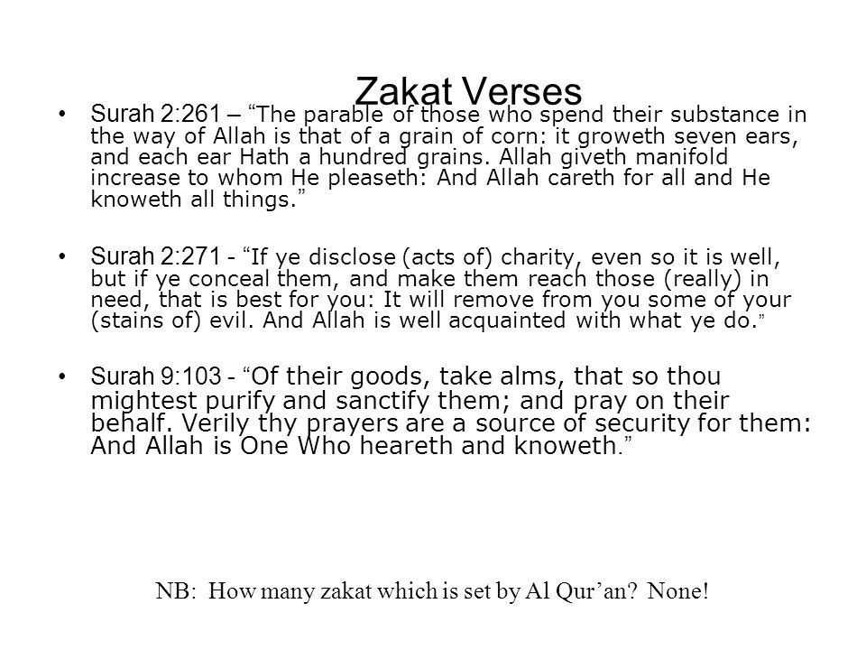 NB: How many zakat which is set by Al Qur'an None!