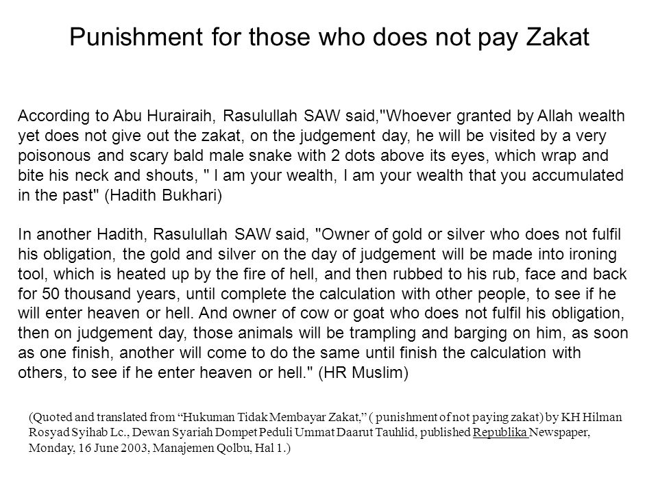 Punishment for those who does not pay Zakat