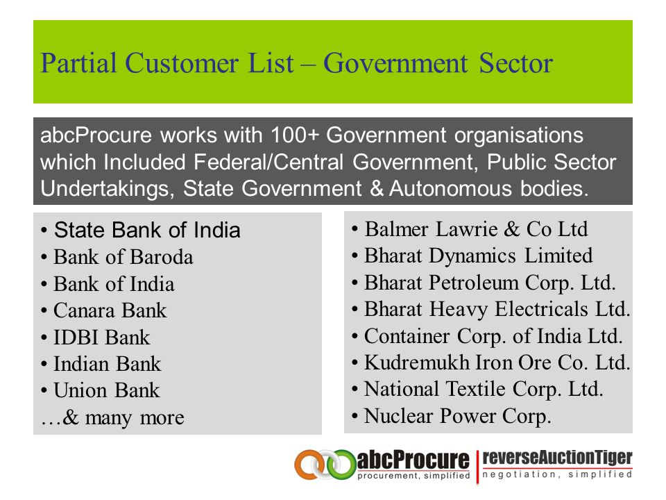 Partial Customer List – Government Sector