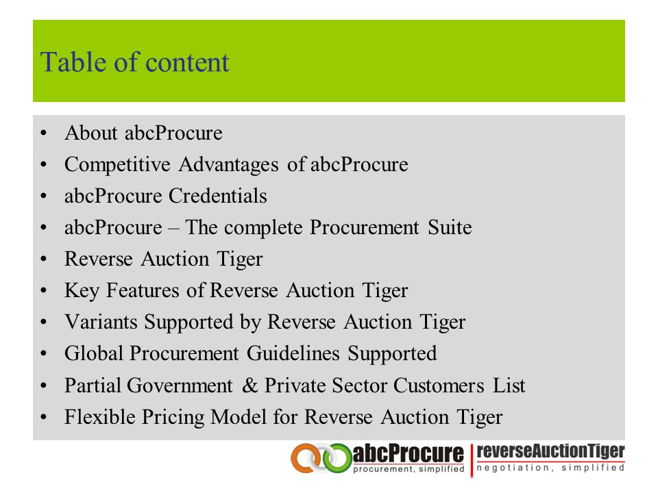Table of content About abcProcure Competitive Advantages of abcProcure