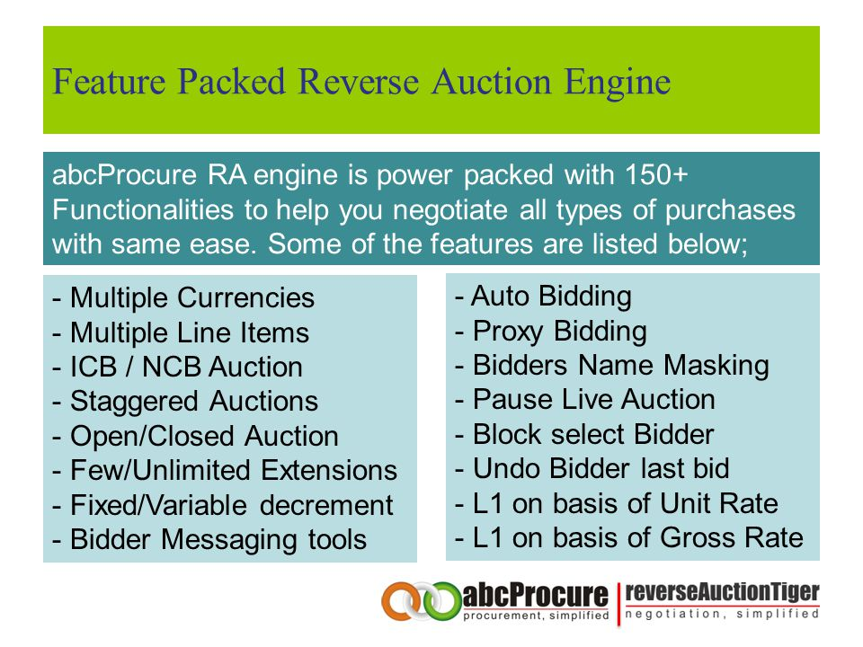 Feature Packed Reverse Auction Engine