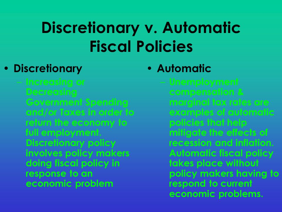 Discretionary v. Automatic Fiscal Policies