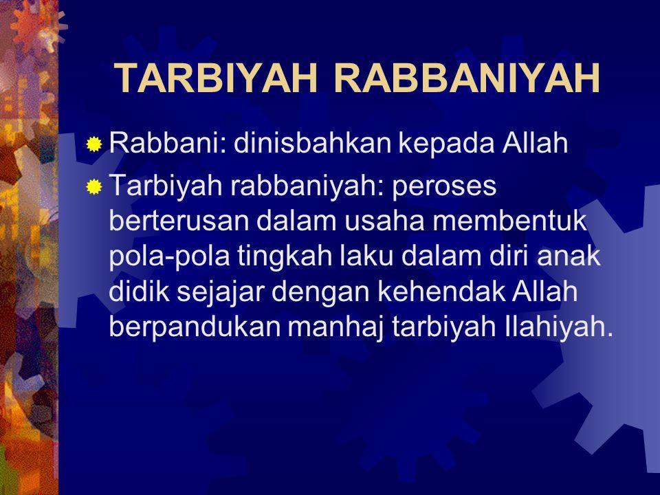 TARBIYAH RABBANIYAH Rabbani: dinisbahkan kepada Allah