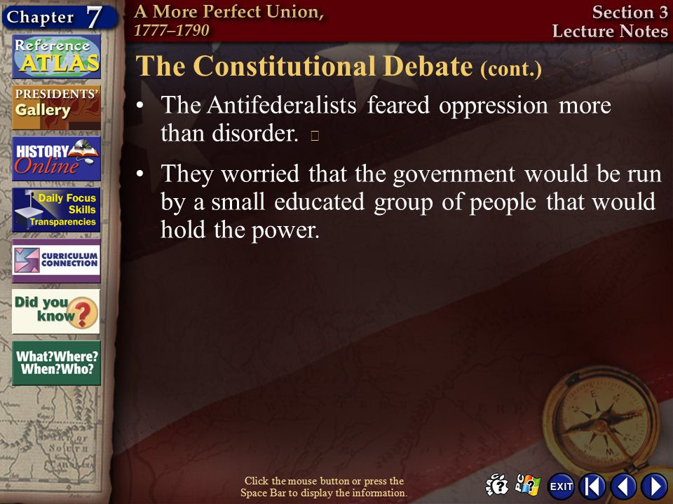 The Constitutional Debate (cont.)