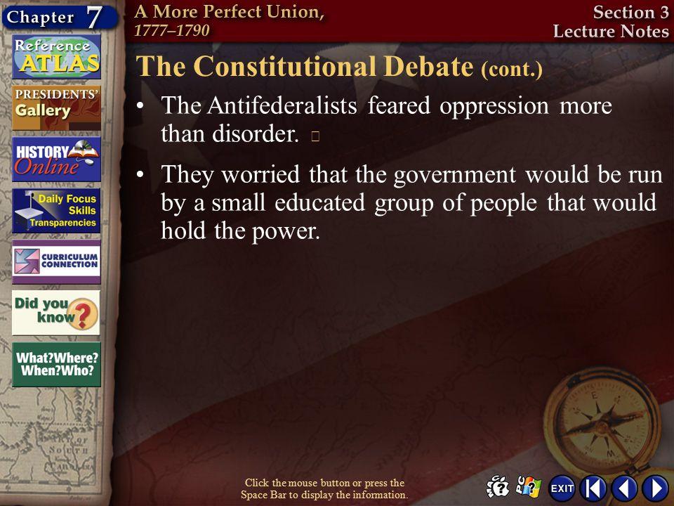 The Constitutional Debate (cont.)