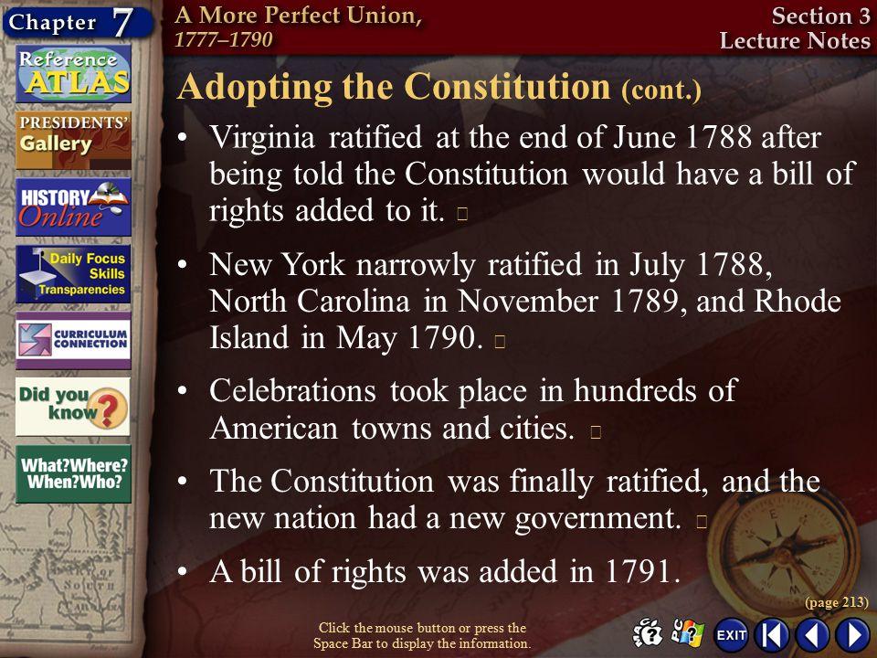 Adopting the Constitution (cont.)