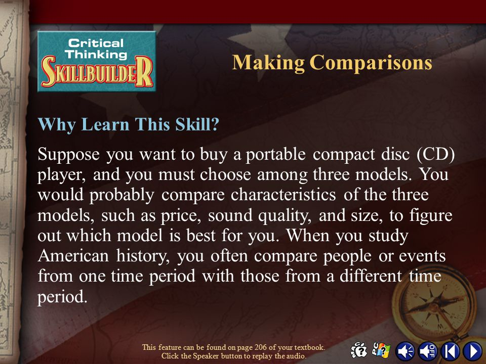 Making Comparisons Why Learn This Skill