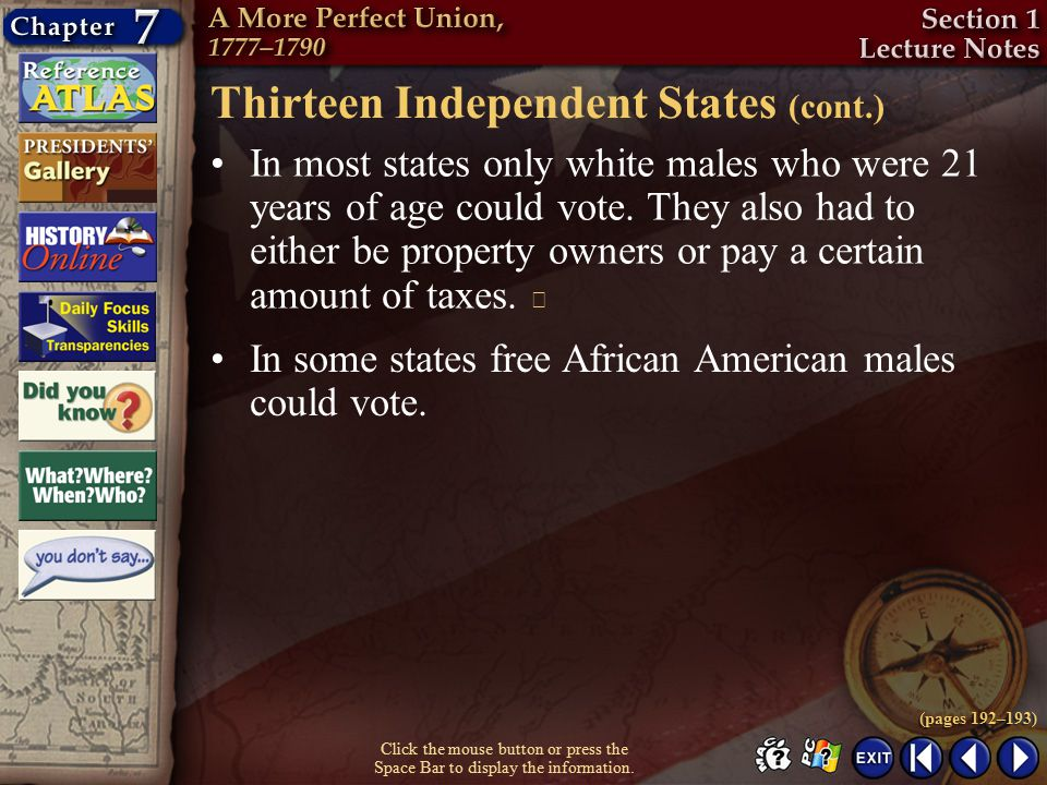 Thirteen Independent States (cont.)