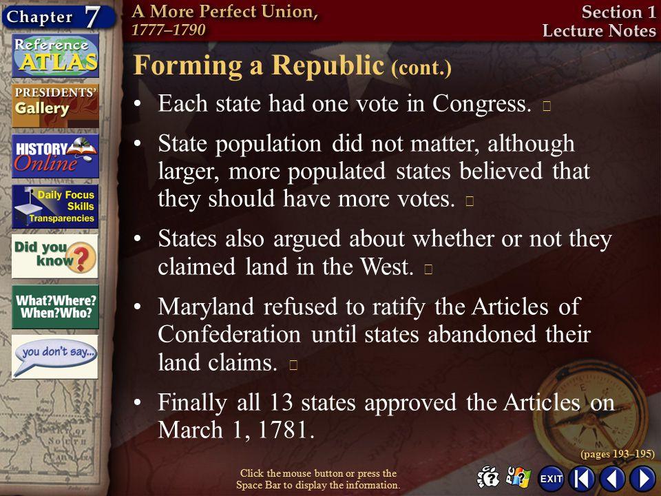 Forming a Republic (cont.)