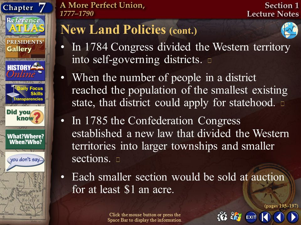New Land Policies (cont.)