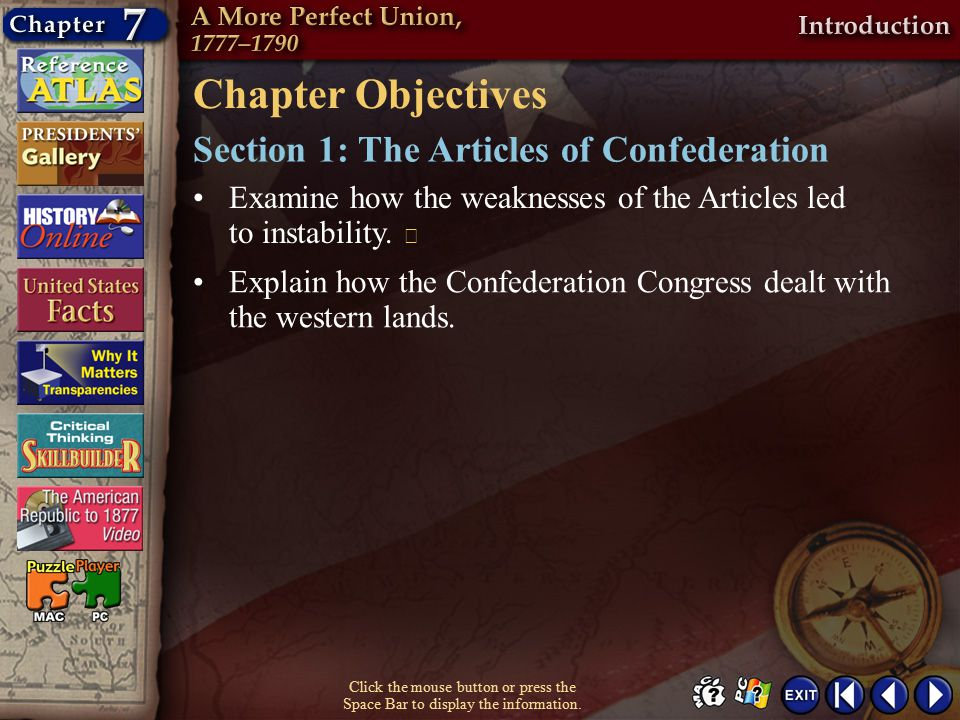 Chapter Objectives Section 1: The Articles of Confederation