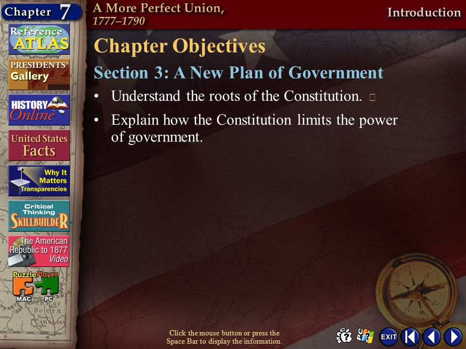 Chapter Objectives Section 3: A New Plan of Government