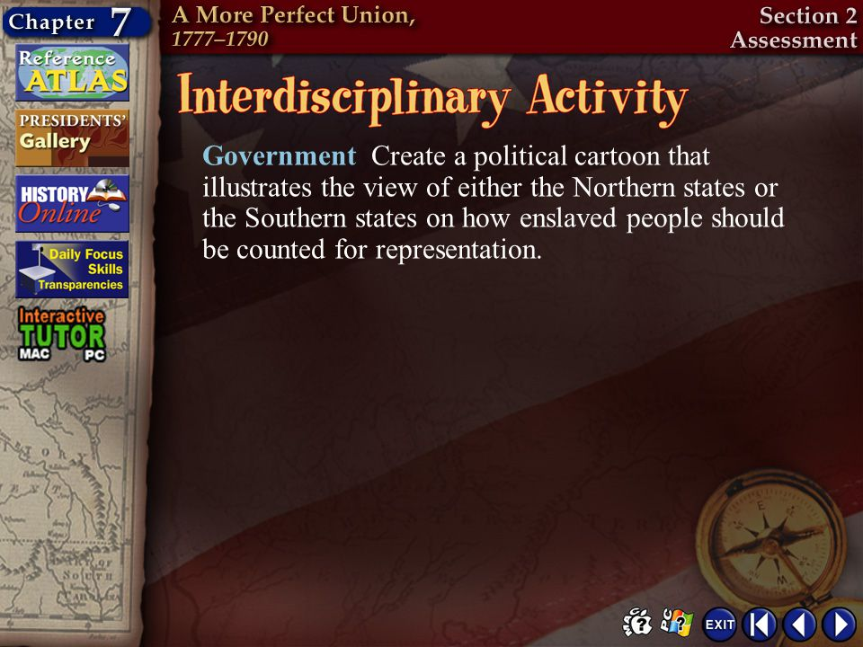 Government Create a political cartoon that illustrates the view of either the Northern states or the Southern states on how enslaved people should be counted for representation.