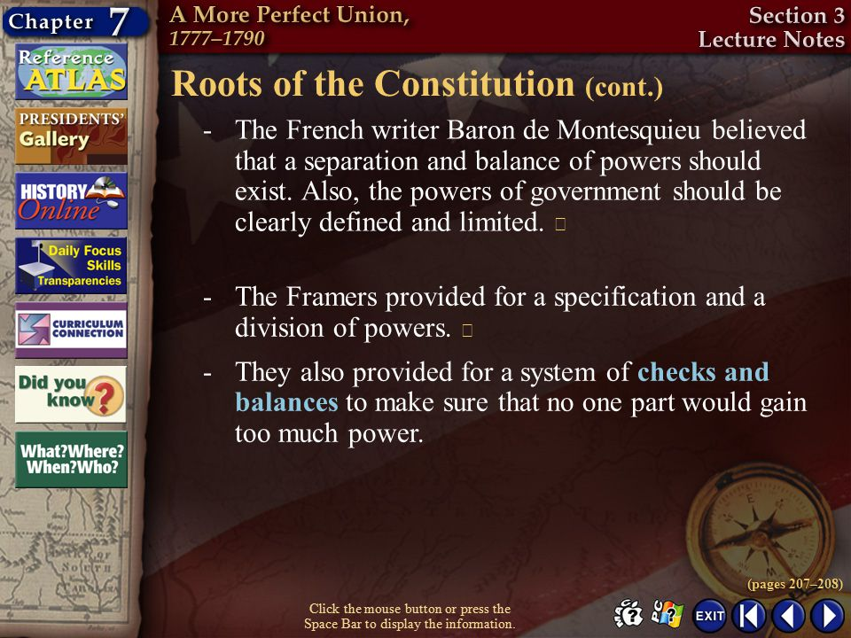 Roots of the Constitution (cont.)