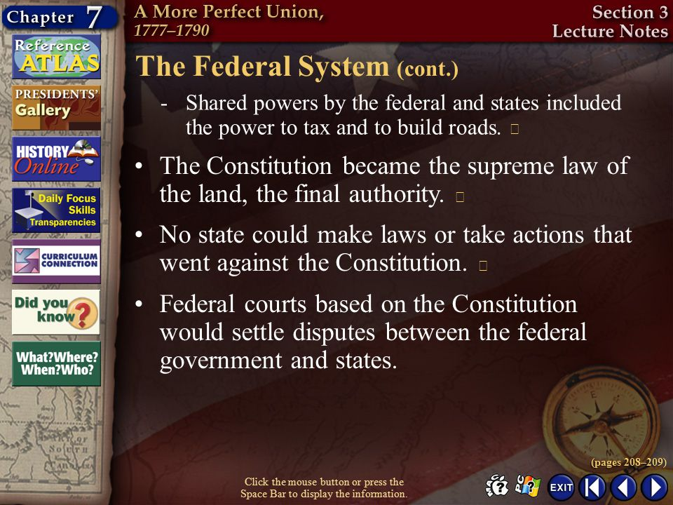 The Federal System (cont.)