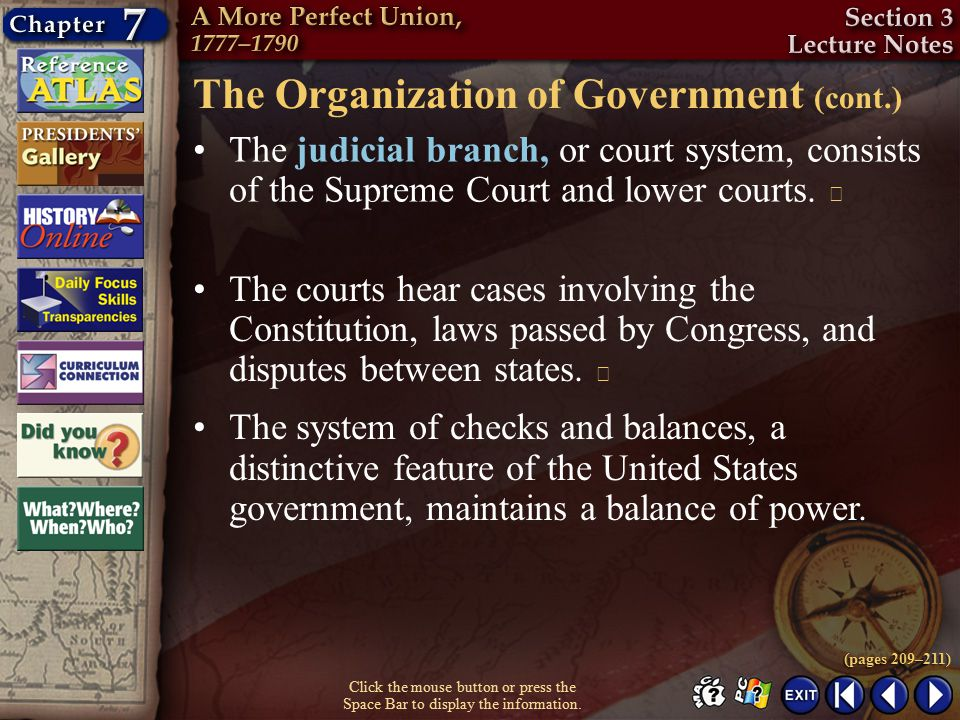 The Organization of Government (cont.)