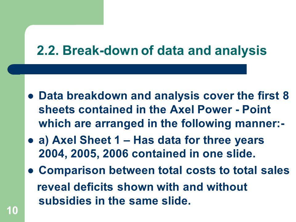 2.2. Break-down of data and analysis