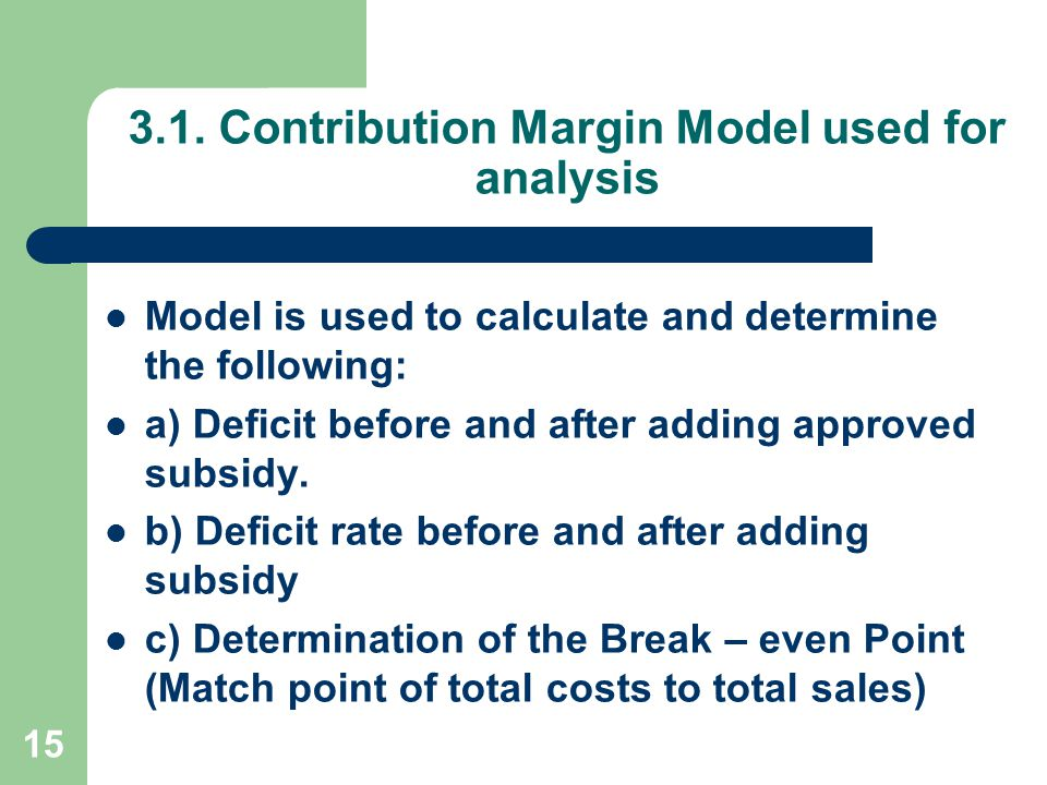 3.1. Contribution Margin Model used for analysis