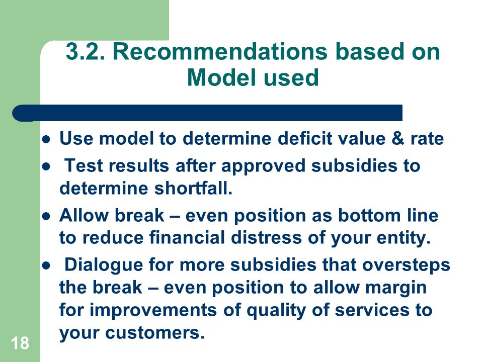 3.2. Recommendations based on Model used