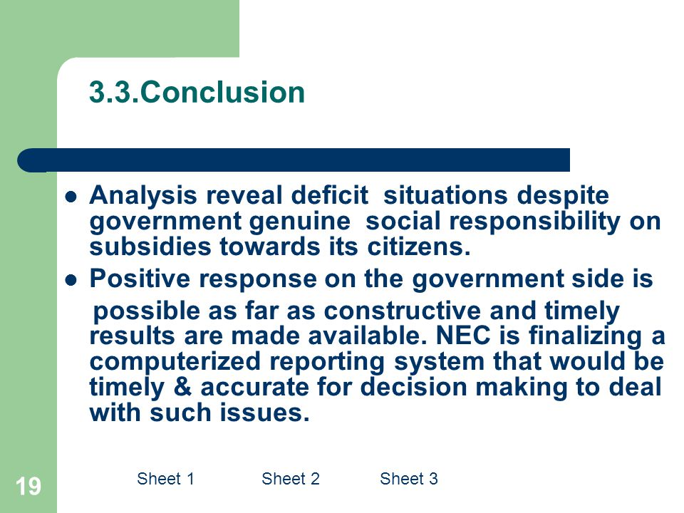 3.3.Conclusion Analysis reveal deficit situations despite government genuine social responsibility on subsidies towards its citizens.