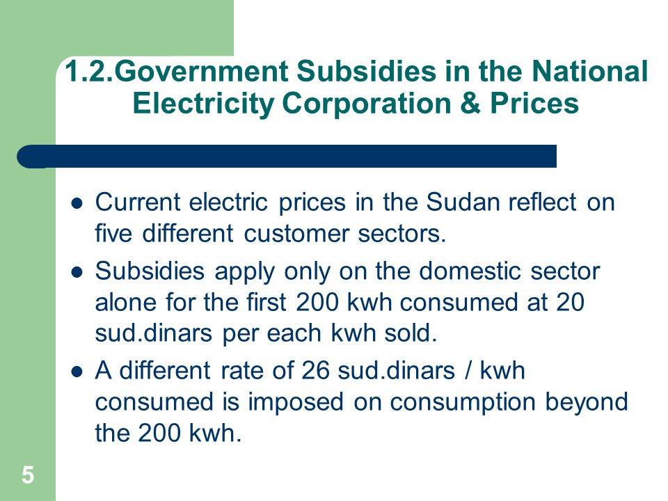 1.2.Government Subsidies in the National Electricity Corporation & Prices
