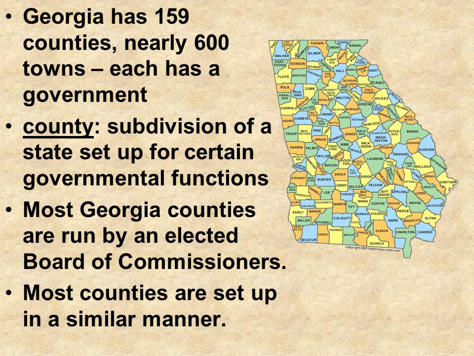 Georgia has 159 counties, nearly 600 towns – each has a government