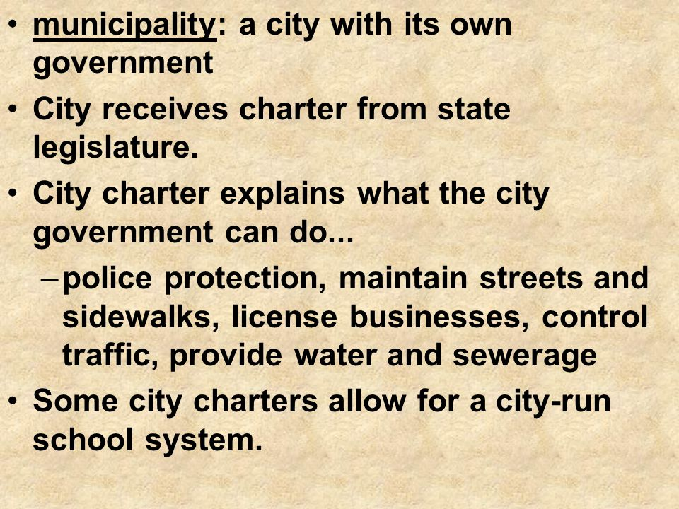 municipality: a city with its own government