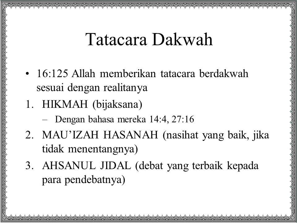 Tatacara Dakwah 16:125 Allah memberikan tatacara berdakwah sesuai dengan realitanya. HIKMAH (bijaksana)