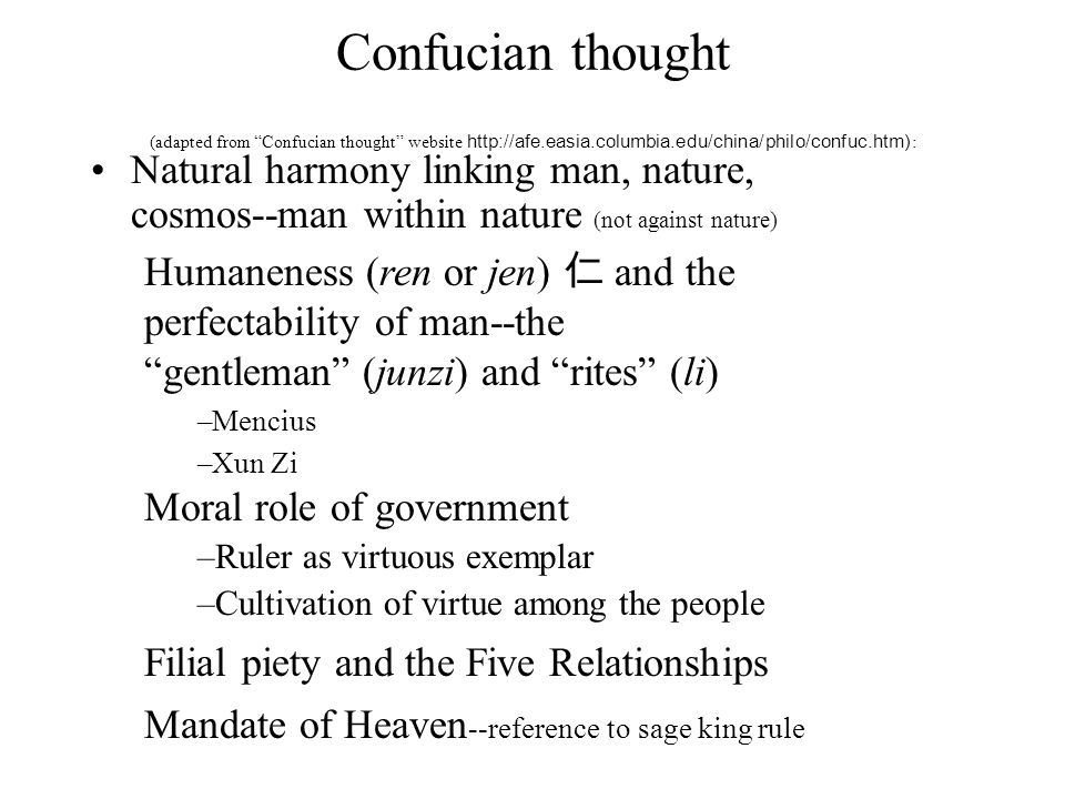 Confucian thought (adapted from Confucian thought website http://afe