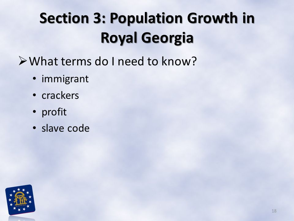 Section 3: Population Growth in Royal Georgia