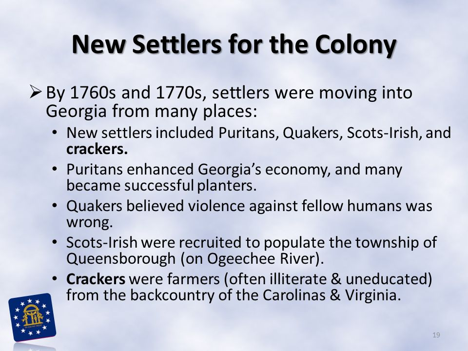 New Settlers for the Colony