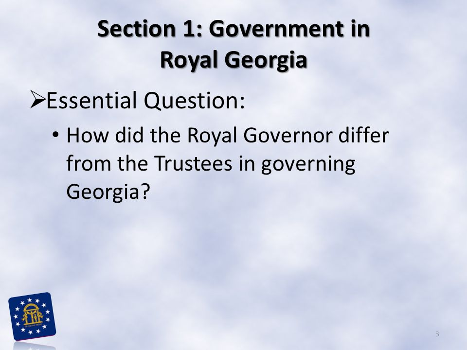 Section 1: Government in Royal Georgia