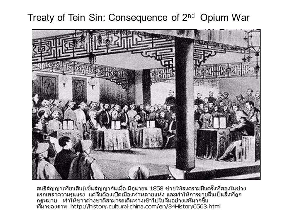 Treaty of Tein Sin: Consequence of 2nd Opium War