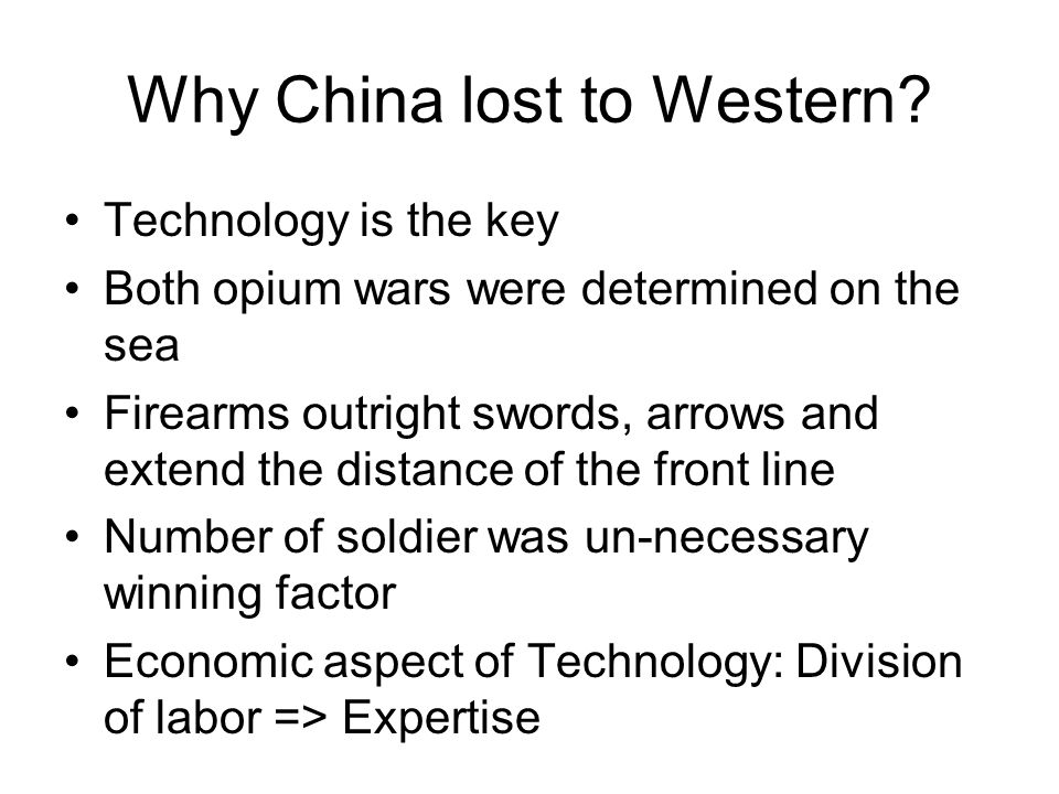 Why China lost to Western