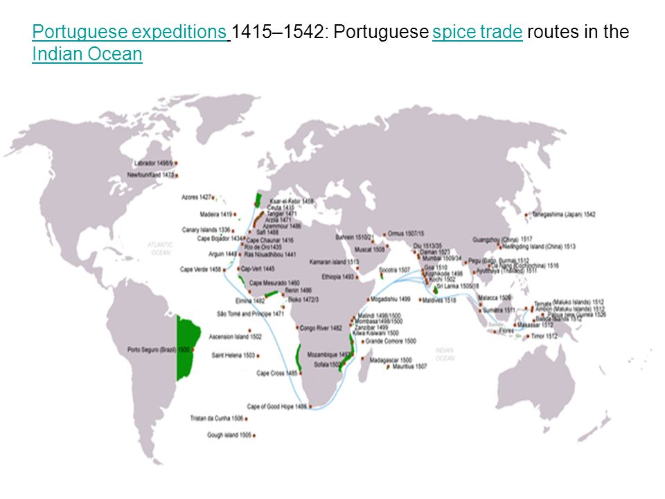 Portuguese expeditions 1415–1542: Portuguese spice trade routes in the Indian Ocean