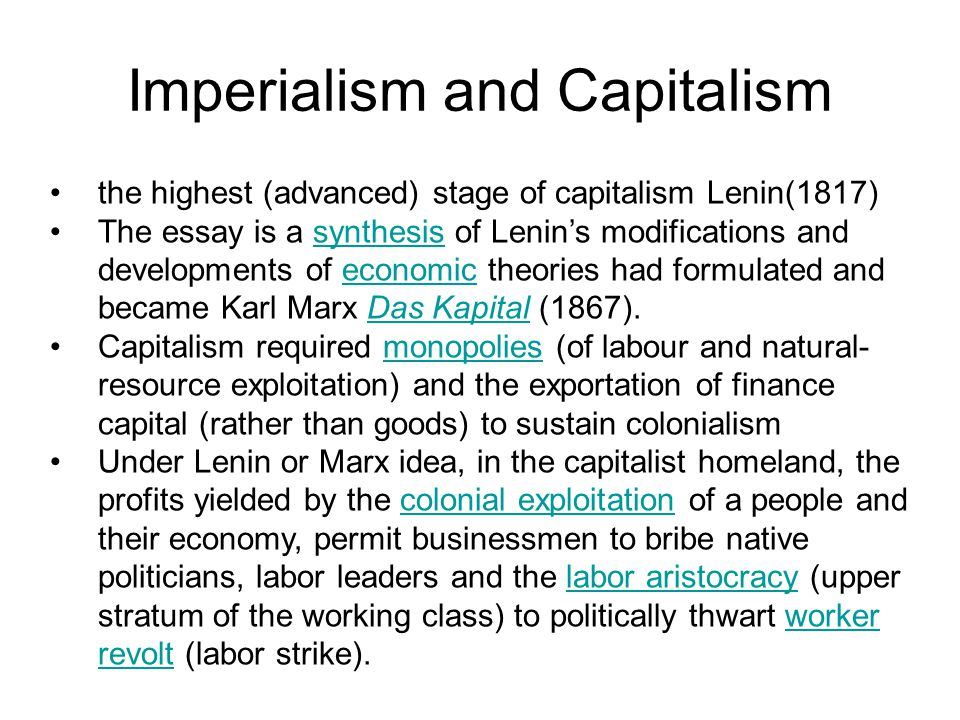 Imperialism and Capitalism