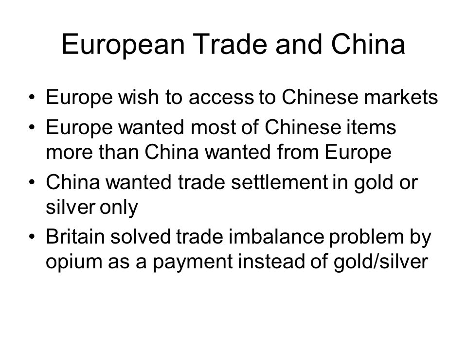 European Trade and China