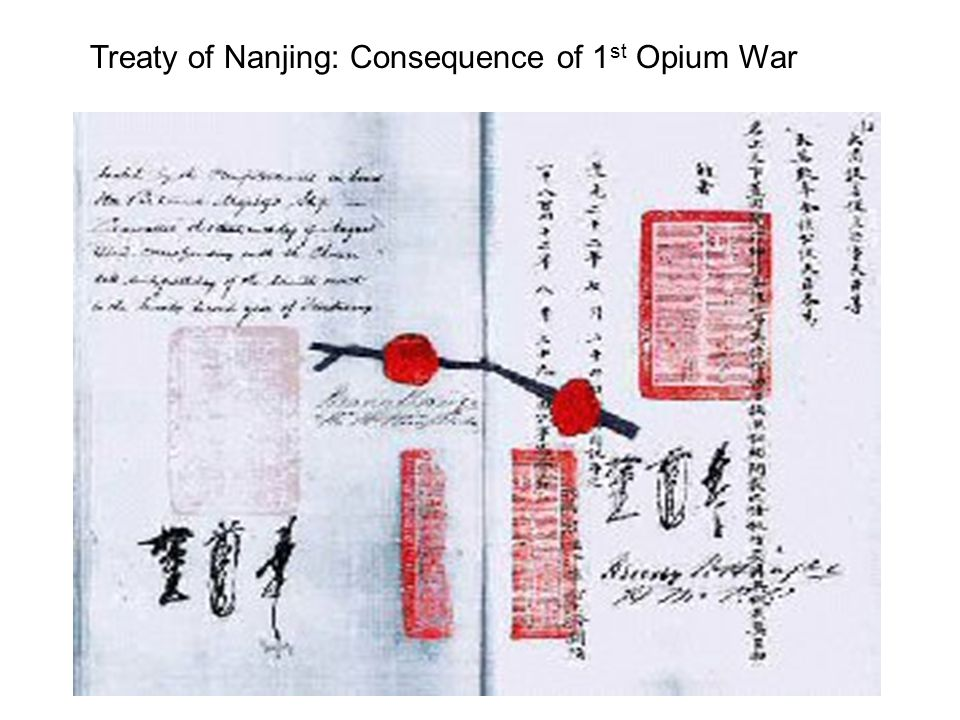 Treaty of Nanjing: Consequence of 1st Opium War