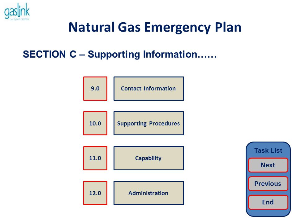 Natural Gas Emergency Plan Supporting Procedures