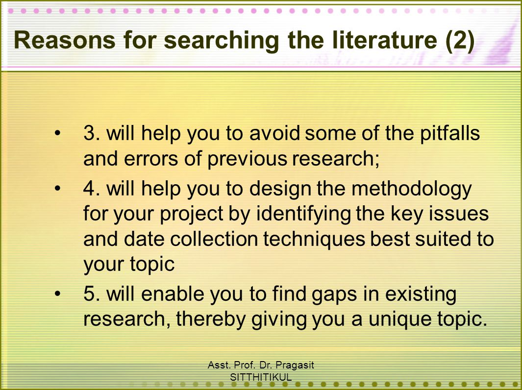 Reasons for searching the literature (2)