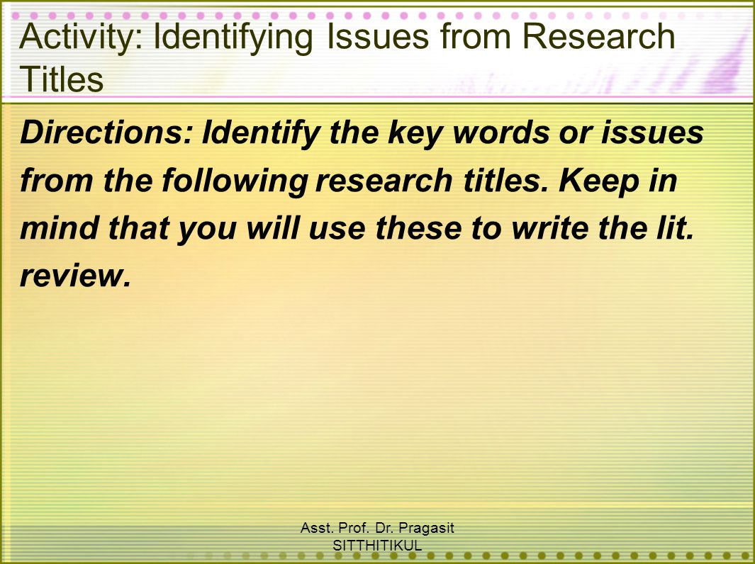 Activity: Identifying Issues from Research Titles