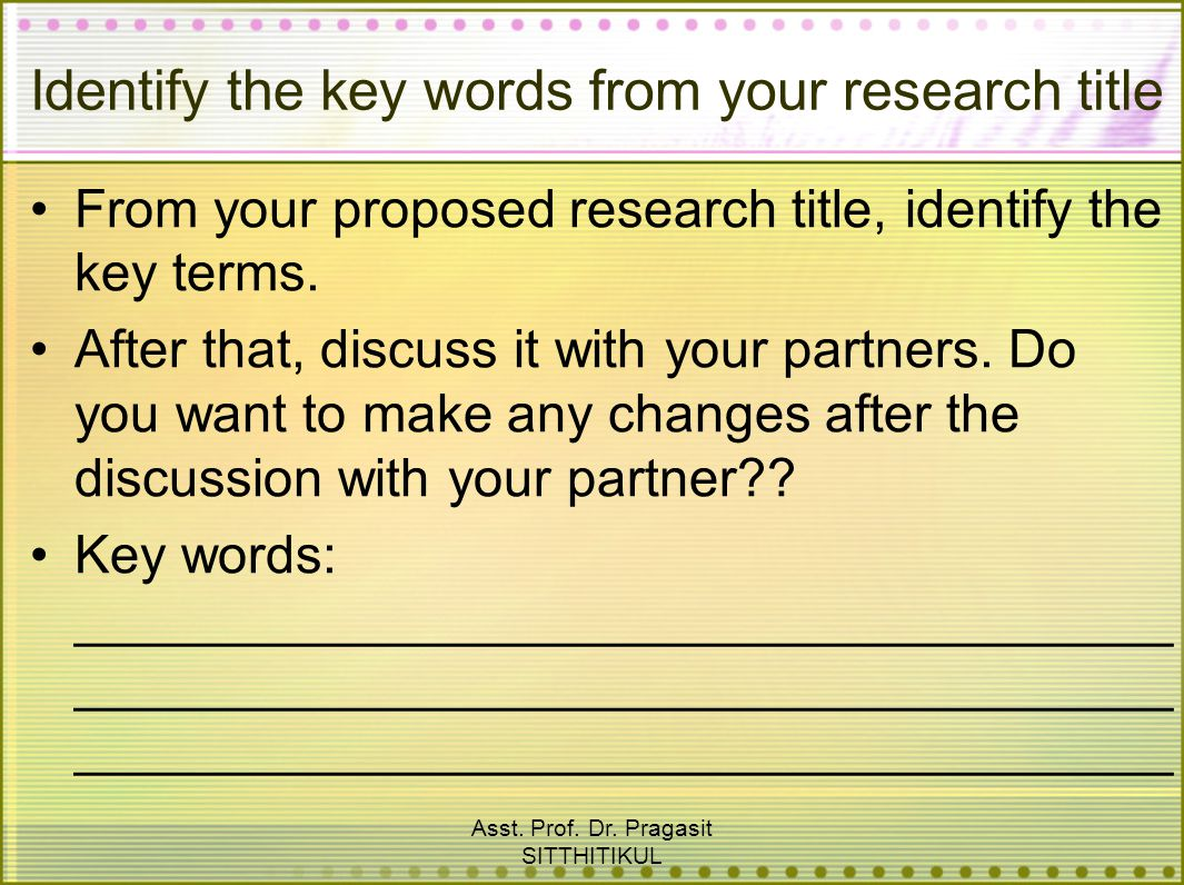 Identify the key words from your research title