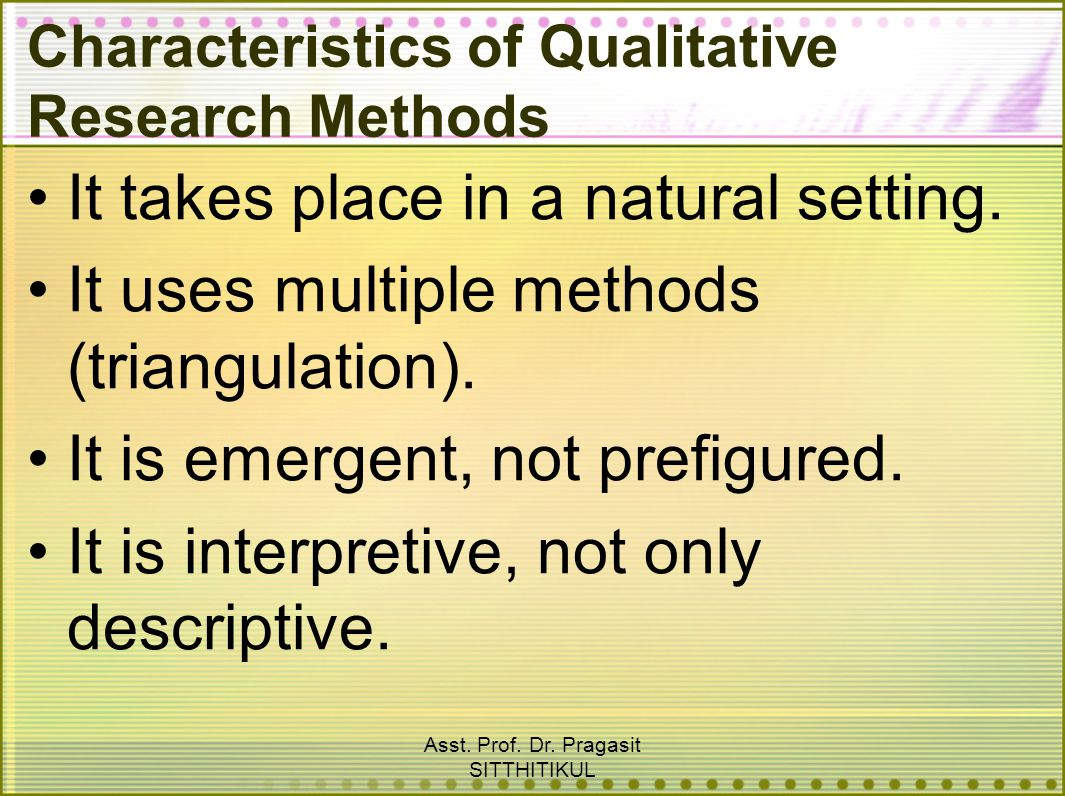 Characteristics of Qualitative Research Methods
