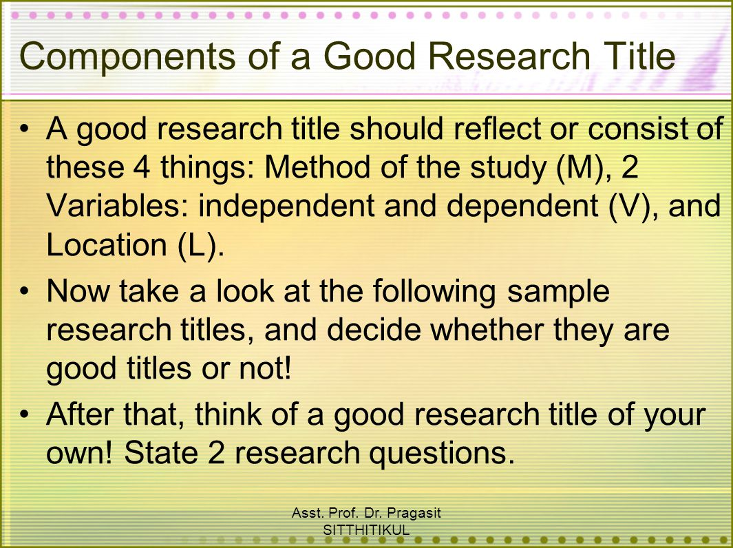 Components of a Good Research Title