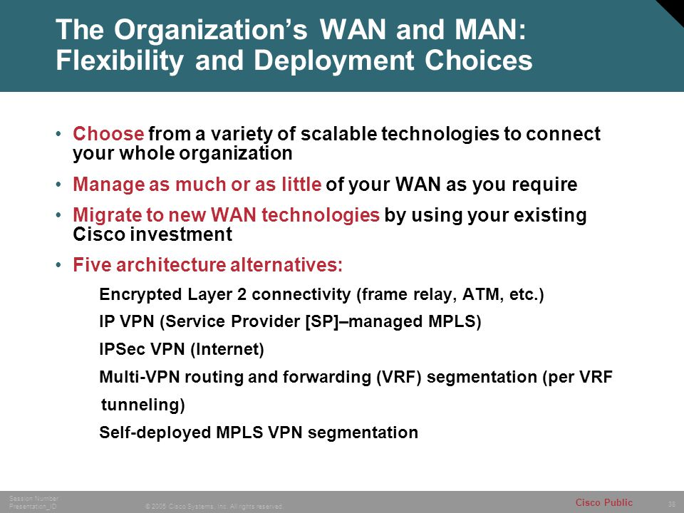 The Organization's WAN and MAN: Flexibility and Deployment Choices