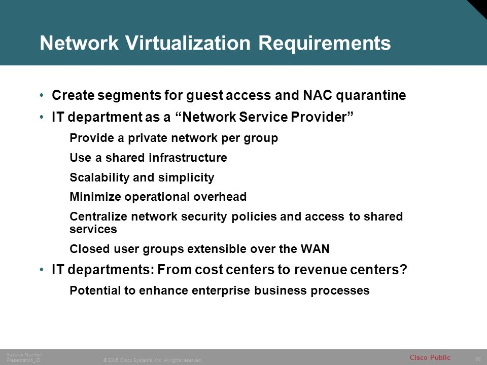 Network Virtualization Requirements