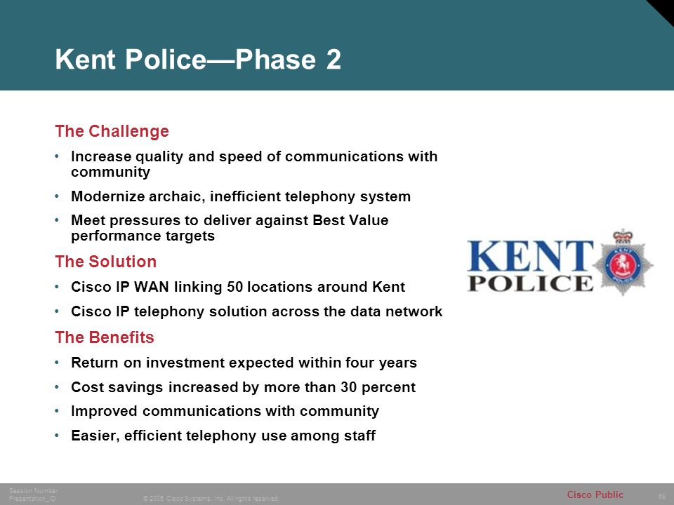 Kent Police—Phase 2 The Challenge The Solution The Benefits